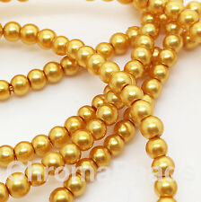 3mm Perles de verre synthétique Strand-jaune moutarde (230 + Perles) riche gold, Craft