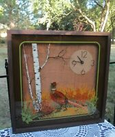 Vintage MCM Elgin Hunting Pheasant Scene Wall Clock Reverse Painted Shadow Box