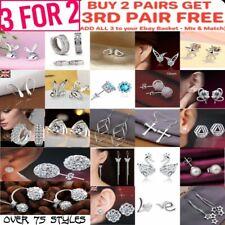 925 Sterling Silver Stud Earring Cubic Zirconia Crystal Women's Dangle Earrings