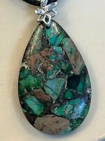 Vintage Blue Natural Green Stone Mosaic Pendant Necklace With Black Cord Chain