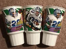 3 McDonald's NFL Looney Toons Commemorative Cups Barry Sanders X2 & Emmitt Smith