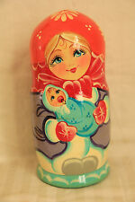 5pc Nesting Doll Family With A Newborn Matreshka Matryoshka Babushka HandPainted