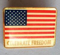 Celebrate Freedom Liberty American Flag USA Pin Badge Vintage Rare (D5)