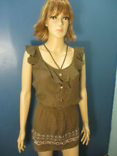 size 3XL brown front ruffle embroidered stretchy waist tunic blouse by MINE TOO