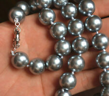 Genuine 14mm Silver Gray South Sea Shell Pearl Round Beads Necklace 18''