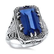 .925 Sterling Silver Ring Sz 5, #101 7 Ct Blue Lab Sapphire Antique Deco Style
