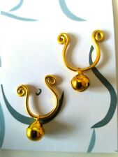 2 X Gold BELL Nipple Ring Intimate Body Jewellery Non Piercing Fake nipple bell