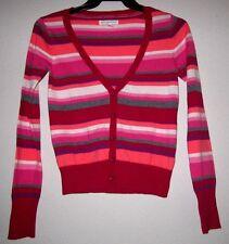 AEROPOSTALE Stripe Knit V Neck L/S Fitted Fit Crop Cardigan Jacket Sweater Top M