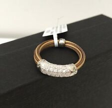 ALOR  Pave Diamond Cable Ring Stainless Steel and 18K White Gold Size 6.5 NEW