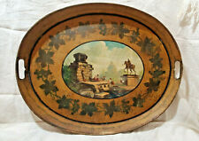 Antique 19th Century Hand Painted Decorated Yellow Oval TOLE TRAY