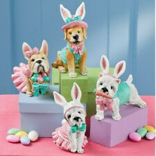 Set of 4 Puppy Dogs Dressed As A Easter Bunny Shelf Table Sitter Figurines