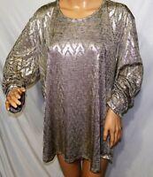 N Touch Women Plus Size 1x 2x Elegant Gold Melange Sparkly Top Blouse Shirt