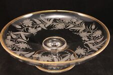 FINE VINTAGE CLEAR AND FROSTED GLASS COMPOTE WITH DETAILED FLOWERS VINES LEAVES