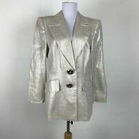 Escada Blazer Size 40 Champagne Gold Metallic Jaguar Buttons Linen Womens