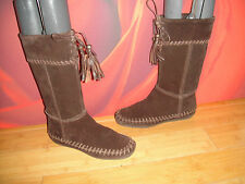 RIVER ISLAND BROWN LEATHER SUEDE RIDING MUKLUK STYLE TASSLE  BOOTS UK 4 *18*