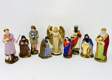 9 Antique Papier Mache Nativity Figurines, Made In Germany