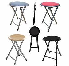 Round Folding Stool Chair Kitchen Breakfast Bar Office Stool Silver Frame Seat