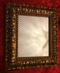 "Vintage Itraly VENETIAN Glass Mirror Gold Gild  Art Deco  Frame 15""x13"""