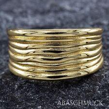 Silberring Silber 925 Ring Verstellbar vergoldet Offen R0862 breit schlicht Edel