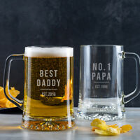 Personalised Daddy Dad Gift Beer Tankard Pint Glass Christmas Xmas Present Idea