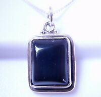 Black Onyx Rectangle 925 Sterling Silver Pendant Corona Sun Jewelry