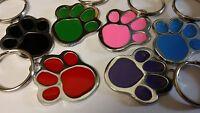ENGRAVED Designer Pet Tag Nickel & Enamel Paw Print DEEP microchip Cat Dog ID A