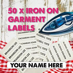 Personalised Iron-On Name 50 Printed Labels School printed Tape Tags
