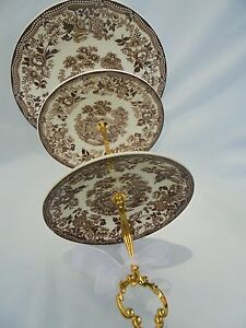 WEDDING Cake Stand 3 Tier Serving Tray Transfer Ware Vintage Plates Tonquin