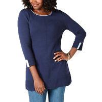 Karen Scott Women's Cotton Colorblocked 3/4 Sleeve Blue Combo Size Extra Small