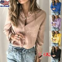 Women's Floral Long Sleeve Shirt Tee Ladies Casual Button Down Work Tops Blouse