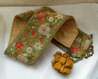 Vintage Damask Velvet WALL HANGING w/ Tassel Tapestry BELL PULL, Bronze Bow Hook