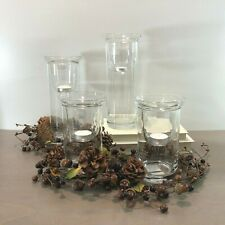 Yankee Candle Cylinder Set 4 Clear Glass Candleholder Pillar Floating 1278942