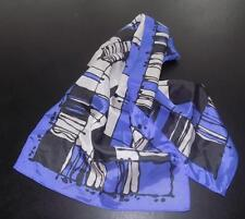 Vintage Purple, Black and White Rectangular Scarf, 100% Polyester  Made in Japan