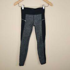 Athleta Girls Zip Around Tight Leggings Gray Herringbone 8-10 M