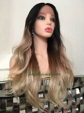 Ash Blonde Wig Balayage Lace Front Wavy Layered 24 Inch Long Heat Resistant Ok