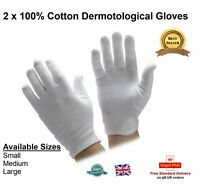 Pair Of 100% Cotton Gloves Dermatological Eczema Butler Beauty Waiter Magician