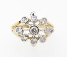 .Vintage Star Design 1.0ct Diamond 14k Yellow Gold Cluster Ring Size T Val $5285