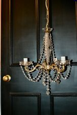 Antique French 3 Arm/ bulbs Crystal  Chandelier Ceiling Light Working