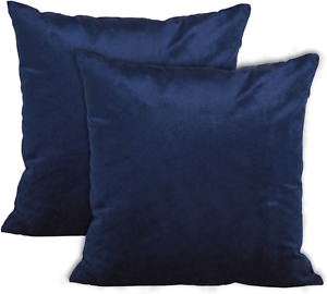 Encasa Homes VELVET Cushion Covers 2pc Set 40 x 40 cm - Navy Blue - Solid Plain