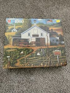 Charles Wysocki's Americana 1000 Piece Jigsaw Puzzle Set Used Sleepy Trox Farms