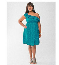 Lane Bryant One Shoulder Dress  Plus Size 24 Palm Print Ruffled Teal Color