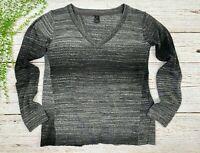 Prana Womens Sz Small Wool Blend Pullover Sweater Heather Gray Split Back Casual