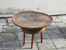 Old Antique Primitive Ottoman Turkish Wooden Low Round Dining TABLE from Bolkans
