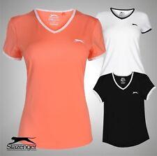 Ladies Slazenger Short Sleeves Court V Neck T Shirt Tennis Top Sizes 8-18