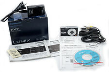 (140) Panasonic Lumix DMC-FX7 5MP w/batt., charger, papers, cables, box, tested