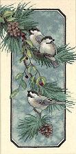 Cross Stitch Kit ~ Dimensions Winter Chickadees Birds Branch & Pinecones #3199