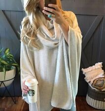 XL New Cozy Grey Cowl Neck Fleece Lined Pullover Sweater Boho Top Womens X-LARGE