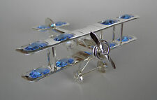 """made with SWAROVSKI BLUE CRYSTAL ELEMENTS """"BIPLANE"""" FIGURINE SILVER PLATED"""