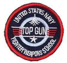 XL Top Gun Iron on Cloth Badge US Flight School Bag Jacket Airforce Patch Round