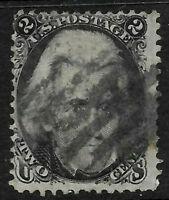 Sc #73 Blackjack Fancy Cancel 2 Cent Jackson 1861 Civil War US 56B66